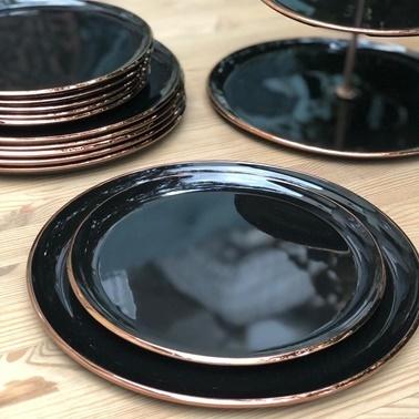 Glore Siyah Rose Gold 6'Lı Pasta Tabak Seti Siyah